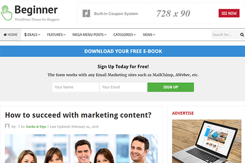 Beginner WordPress Theme Screenshot