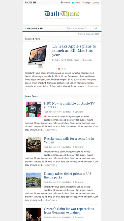 Daily WordPress Theme Mobile Screenshot