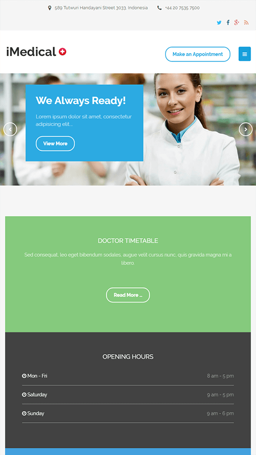 iMedical WordPress Theme Mobile Screenshot
