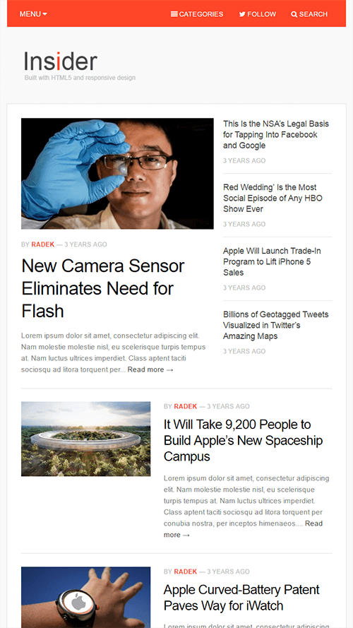 Insider WordPress Theme Mobile Screenshot