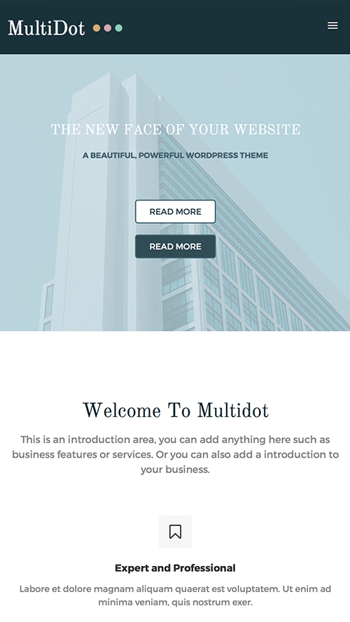 MultiDot WordPress Theme Mobile Screenshot