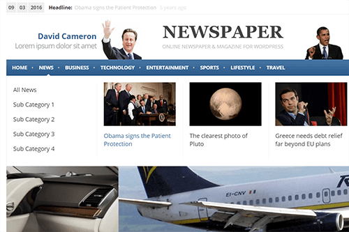 Newspaper WordPress Theme Tablet Screenshot