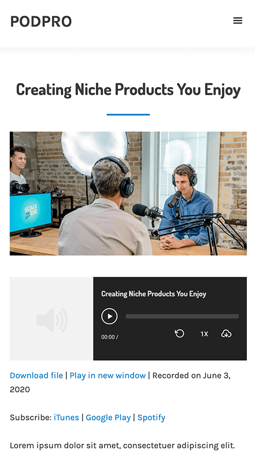 PodPro WordPress Theme Mobile Screenshot