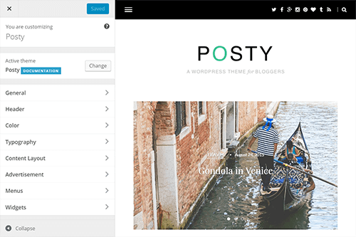 Posty WordPress Theme Tablet Screenshot