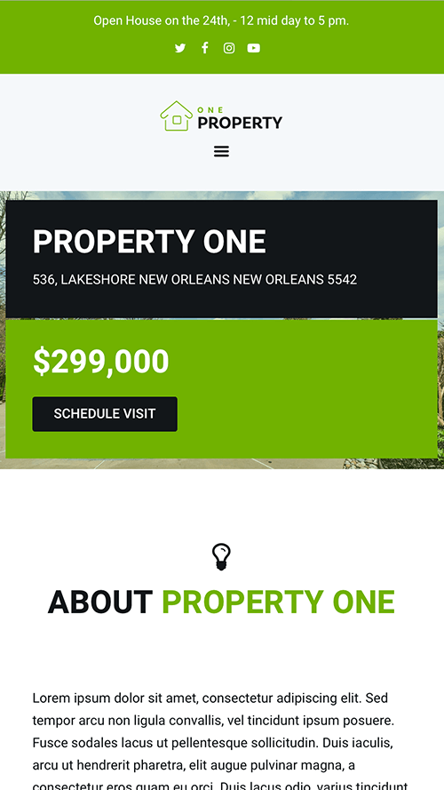 Property One WordPress Theme Mobile Screenshot