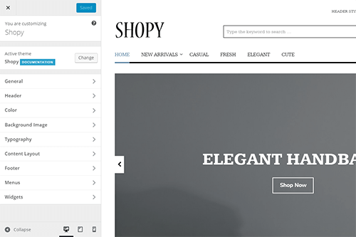 Shopy WordPress Theme Tablet Screenshot
