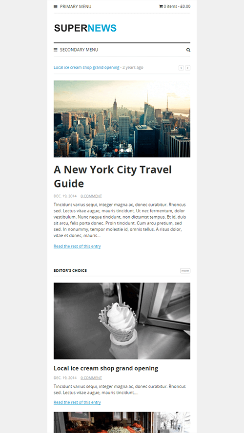 SuperNews WordPress Theme Mobile Screenshot