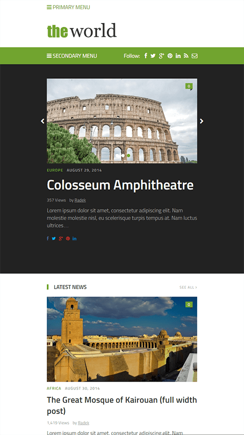TheWorld WordPress Theme Mobile Screenshot