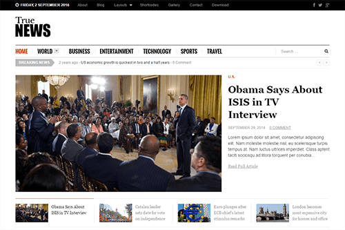 TrueNews WordPress Theme Screenshot