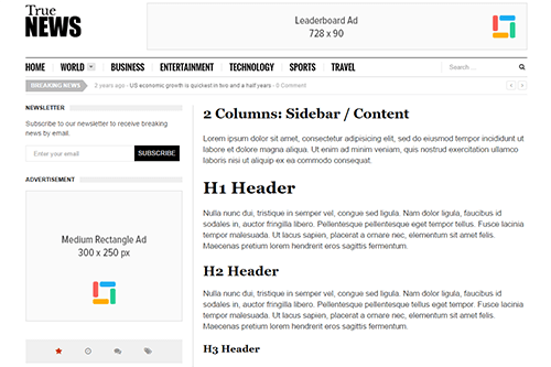 TrueNews WordPress Theme Tablet Screenshot