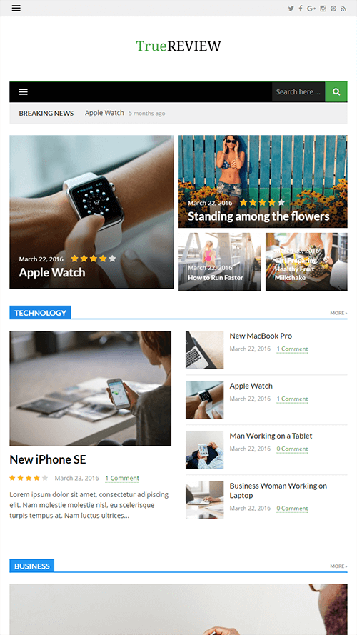 TrueReview WordPress Theme Mobile Screenshot
