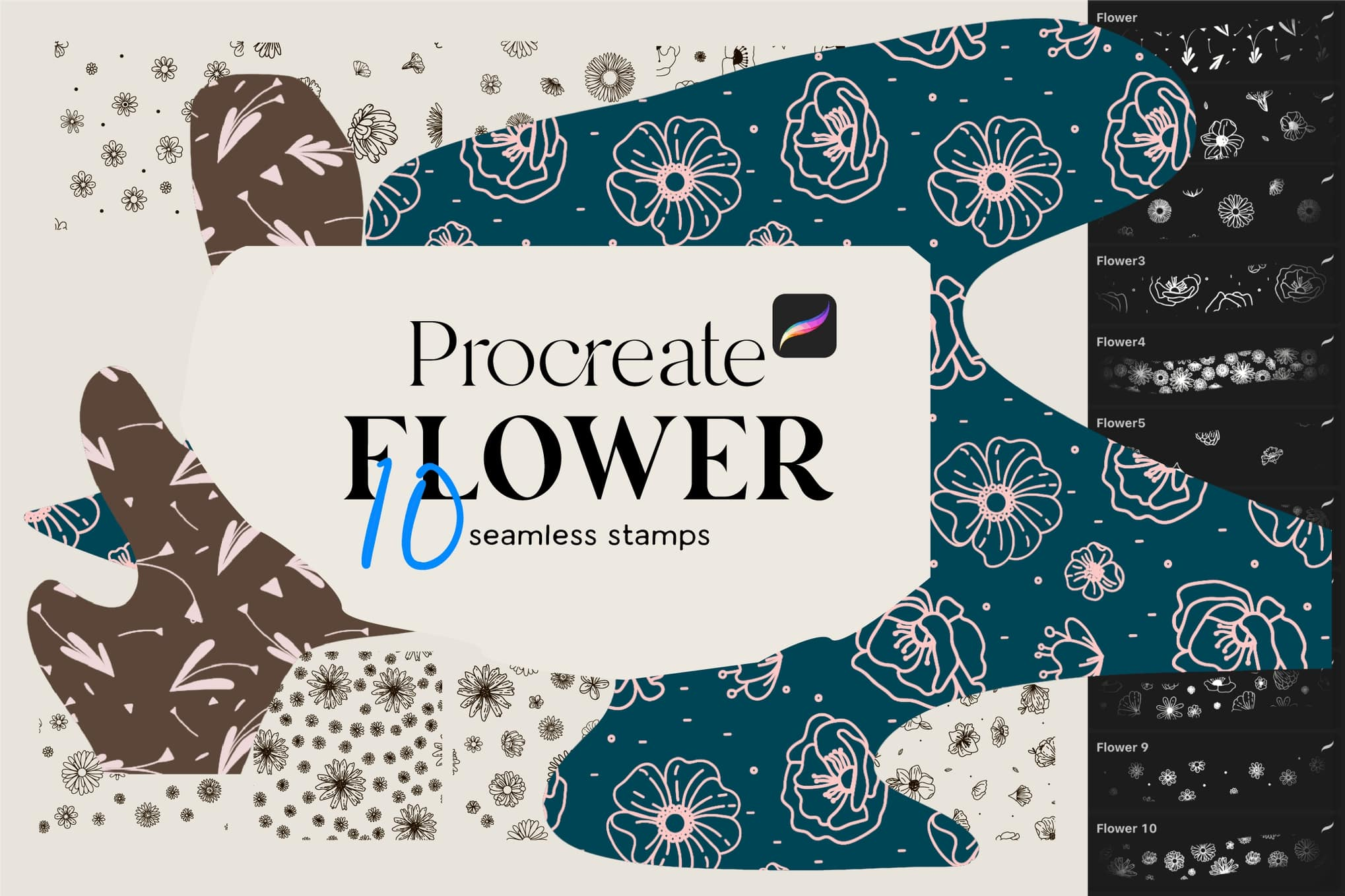 10 Flowers stamps for Procreate
