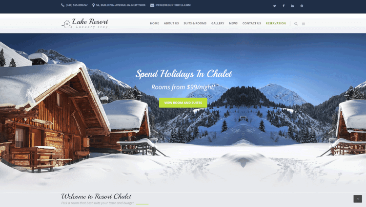 Lake Resort - Drag-and-Drop Hotel WordPress Theme
