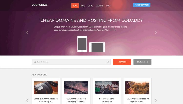 Couponize - Deals and Coupon Site WordPress Theme