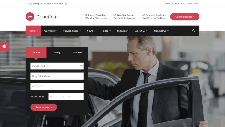 Chauffeur - Limousine, Care Hire and Transport WordPress Theme