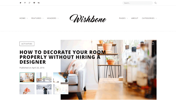 Wishbone - Blogging Dribbble WordPress Theme