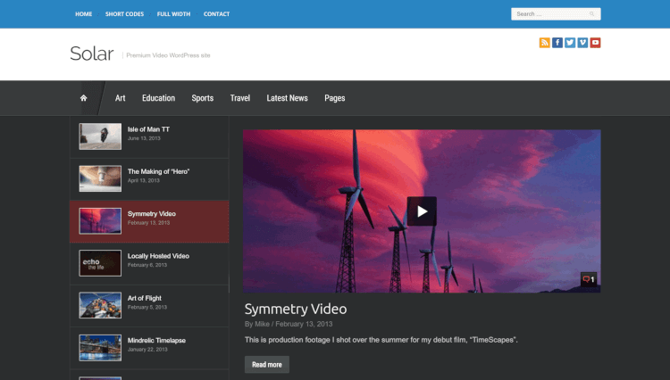Solar - YouTube and Video Gallery WordPress Theme