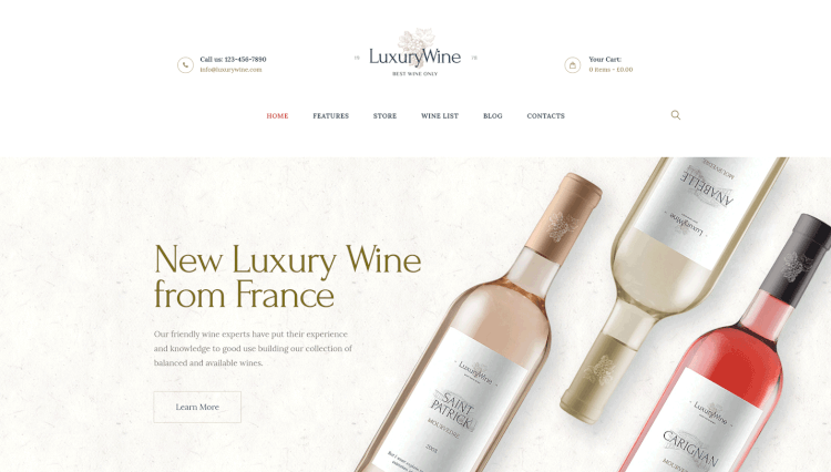 Luxury Wine - Wine Shop Luxury WordPress Theme