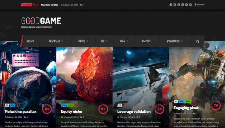 GoodGame - Gaming Magazine Dark WordPress Theme
