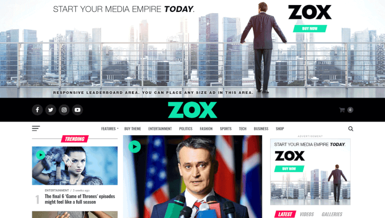 Zox News - Professional News and Magazine WordPress Theme