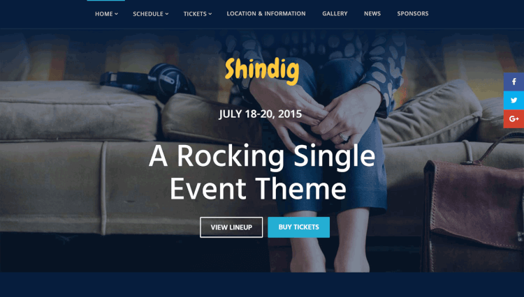 Shindig - Single Event Slider Revolution WordPress Theme