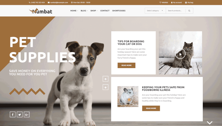 Numbat - Pet Shop WooCommerce Slider Revolution WordPress Theme