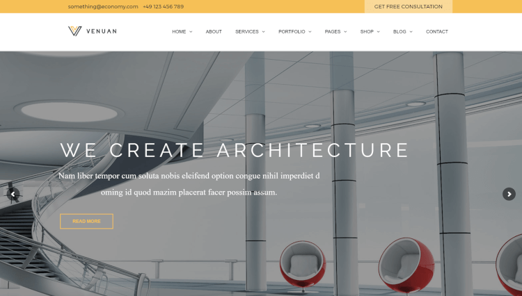 Venuan - Architecture and Interior Design WordPress Theme