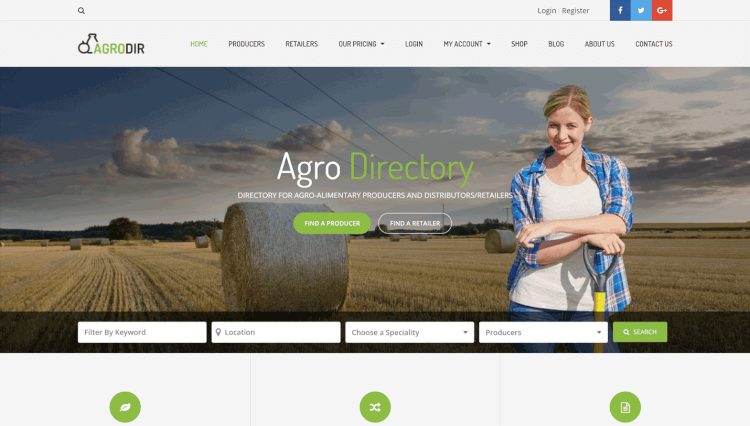 Agrodir - Online Directory Subscription WordPress Theme