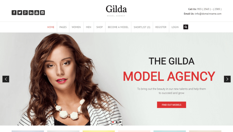 Gilda - Model Agency Subscription WordPress Theme