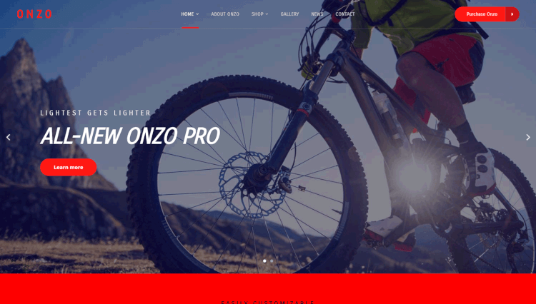 Onzo - Single Product Bike Shop WooCommerce WordPress Theme