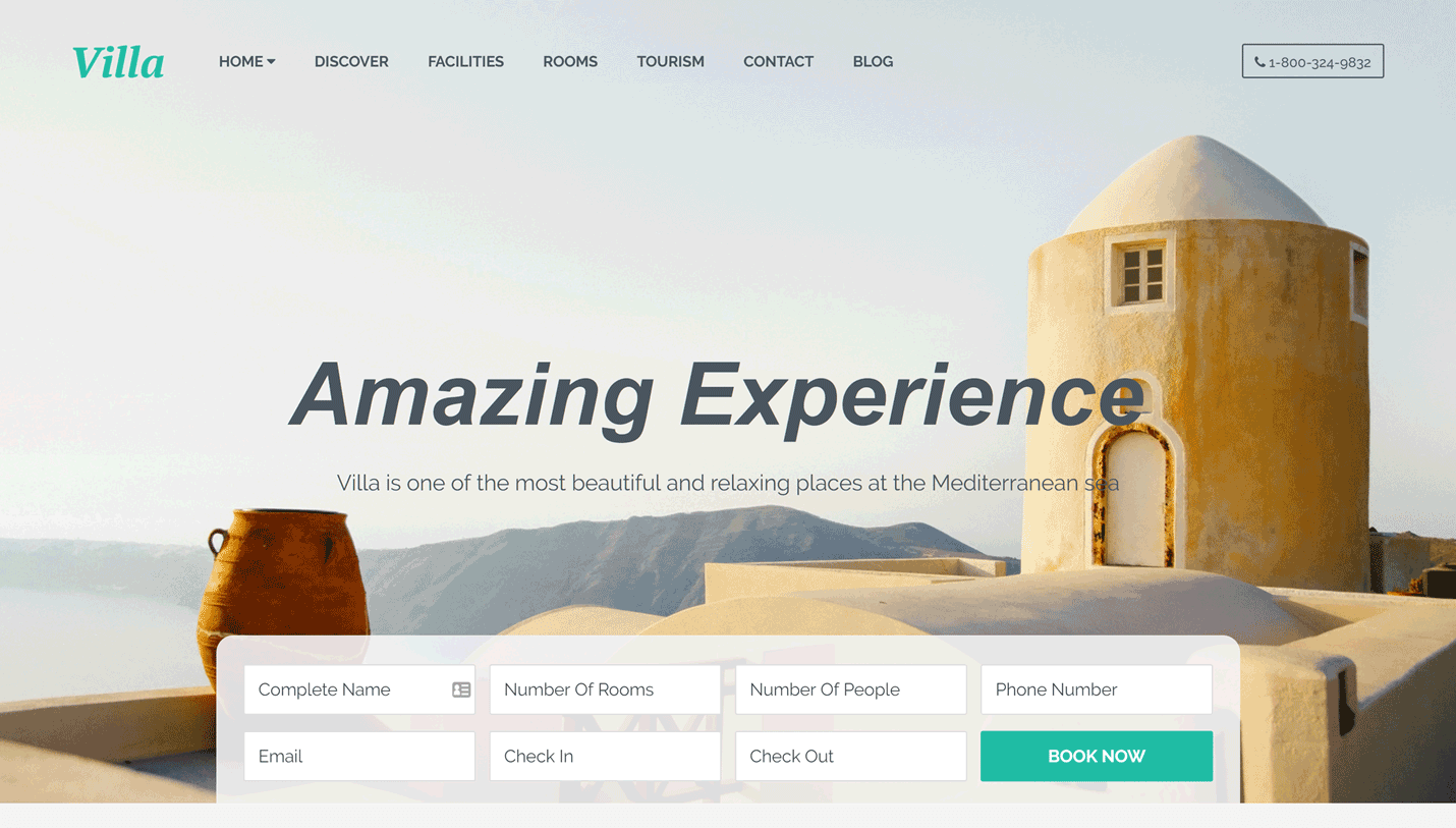 Villa - Bed and Breakfast Accommodation Landing Page WordPress Theme