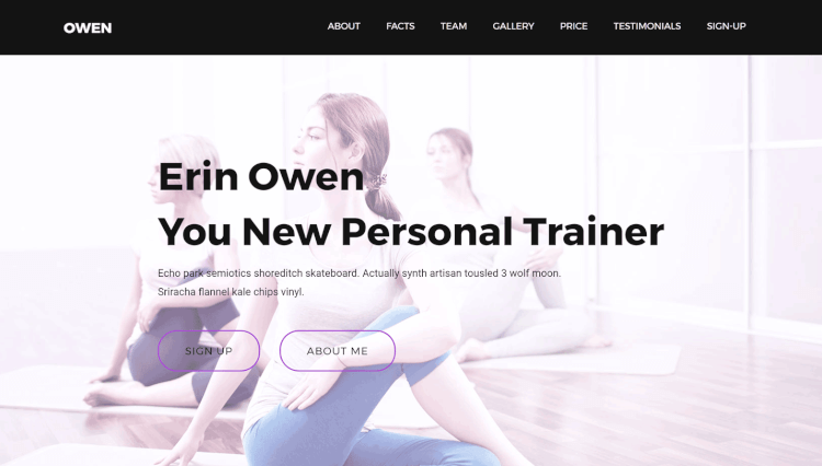 Owen - Personal Trainer and Sports Landing Page WordPress Theme