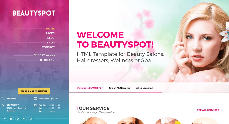 BeautySpot - ธีม WordPress สำหรับร้านเสริมสวย