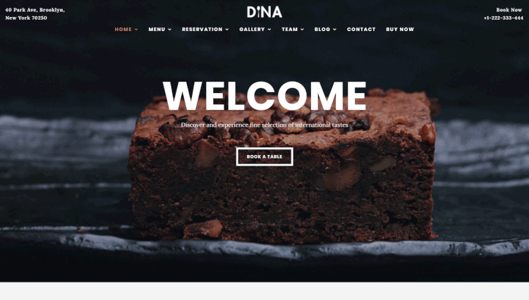 Dina - Restaurant and Bar Food and Drink WordPress Theme
