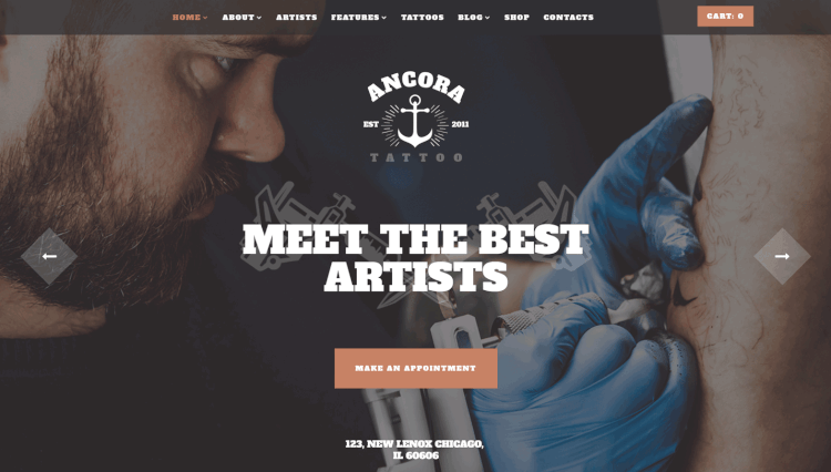 Ancora - Tattoo Salon and Ink Shop Vintage WordPress Theme