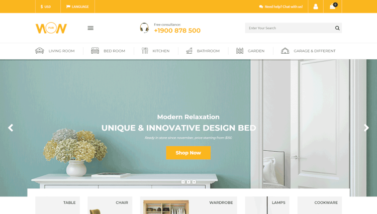 Wow - Furniture Marketplace WordPress Theme