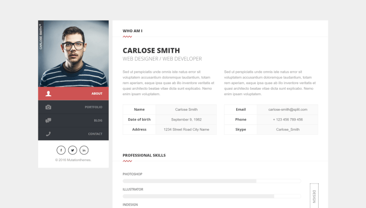 Split   Drag And Drop CV And Resume WordPress Theme  Wordpress Resume Themes