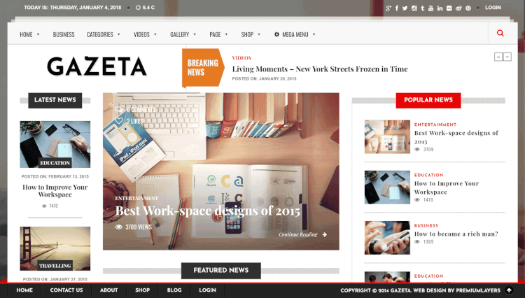 Gazeta - Magazine Paid Membership and Subscription WordPress Theme