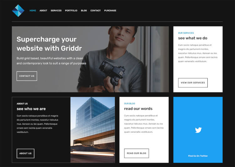 Griddr - Dark Grid Creative WordPress Theme