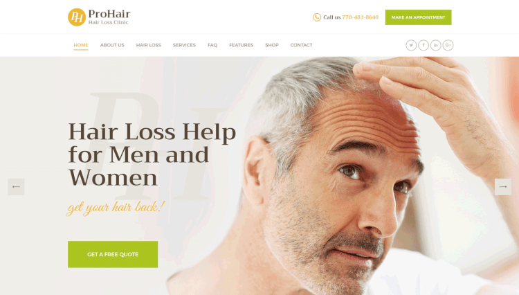 ProHair - Hair Loss Clinic and Salon WordPress Theme