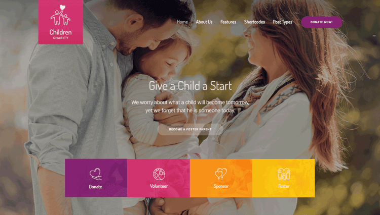Children Charity - Nonprofit and NGO WordPress Theme for Kids and Children