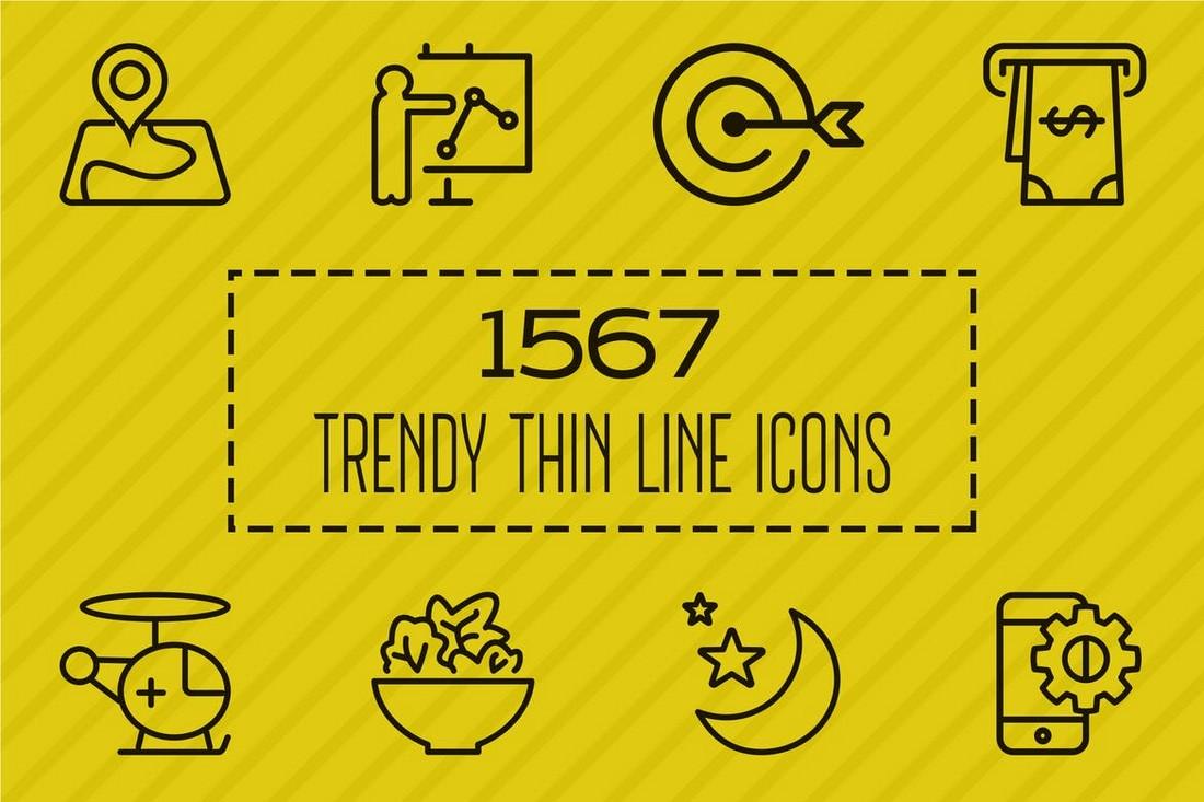 1567 Ikon Garis Tipis Trendy untuk iPhone