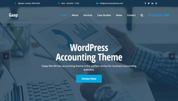 Gaap - Accounting Page Builder by SiteOrigin WordPress Theme