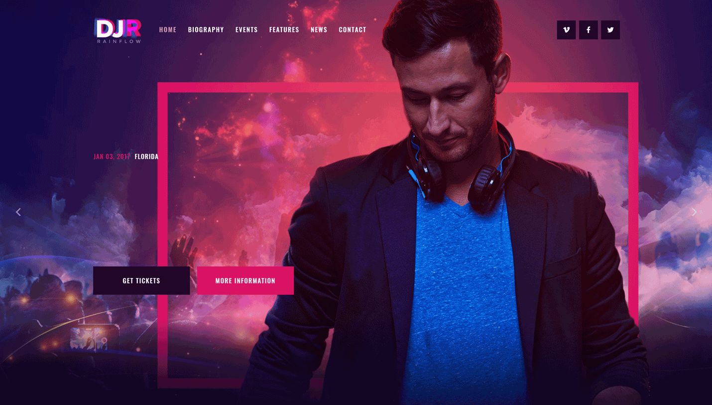 DJ Rainflow - Artist and Band WordPress Theme for Musicians and Performers