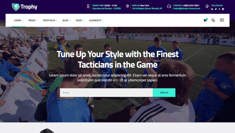 Trophy - Soccer Sport and Athlete Coaching WordPress Theme