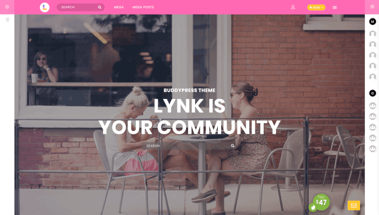 Lynk - Social Networking and Community BuddyPress Compatible WordPress Theme
