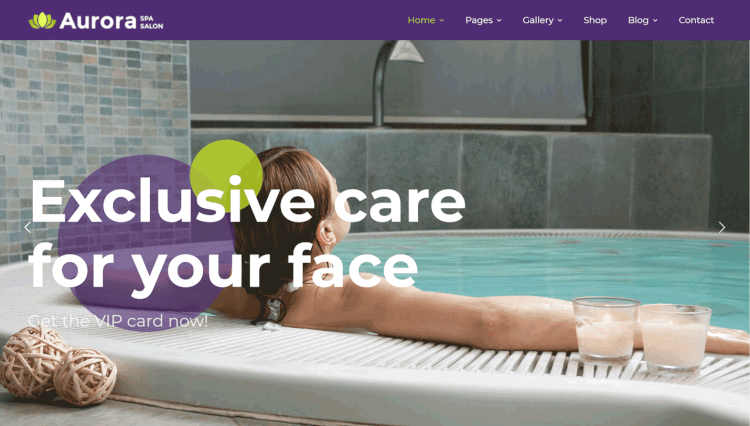 Aurora - Wellness Spa and Hair Salon WordPress Theme