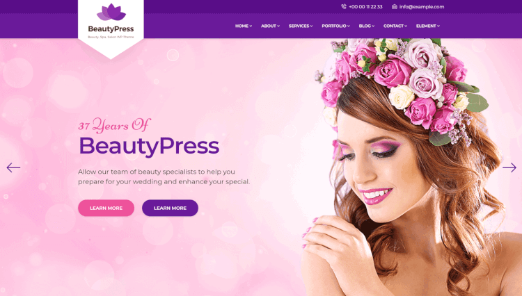 BeautyPress - Health Spa and Hair Salon WordPress Theme