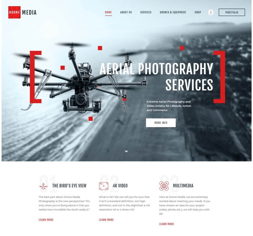 Drone Media - Aerial Photography & Videography WordPress Theme