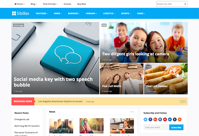 SiteBox WordPress theme